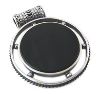 Silver & Black Onyx Pendant with Protection Blessing
