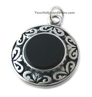 Black Onyx Pendant with Star of David & Blessings