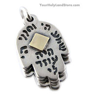 Silver & Gold Pendant with 5 Hamsa Hands