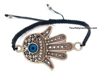 Black Macrame Bracelet with Hamsa