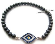 Hematite Bracelet with Evil Eye