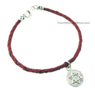 Red Leather Bracelet with Star of David