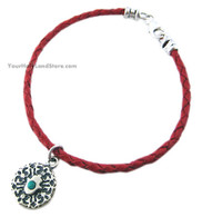 Red Leather Bracelet with Hamsa & Blessing