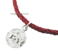 Red Leather Bracelet with Kabbalah Pendant