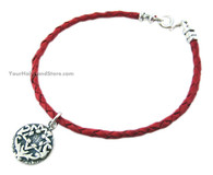 Red Leather Bracelet with Star of David & Blessing