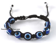 Black Macrame Bracelet with Evil Eyes