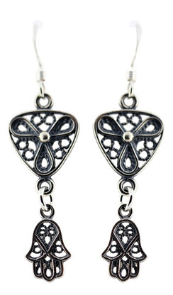 Sterling Silver Filigree Earrings with Hamsa