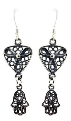 Sterling Silver Filigree Earrings with Hamsa
