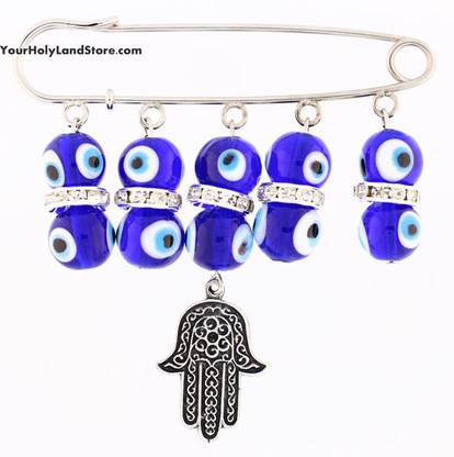 Baby Pin with Evil Eyes and Hamsa