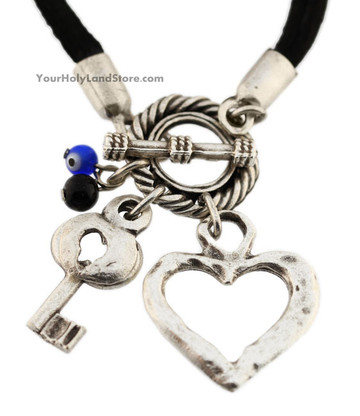 Evil Eye Protection Bracelet With Heart and Key