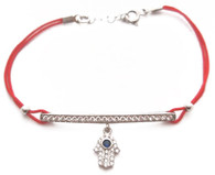 Kabbalah Red String Bracelet with Silver Hamsa