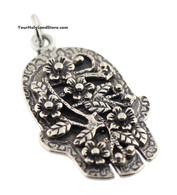 Silver Hamsa with Flowers Pendant