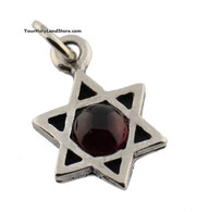 Silver Star of David Pendant with Garnet