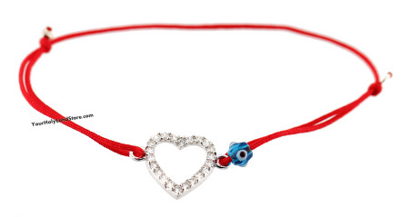 Kabbalah Red String Bracelet with Silver Heart
