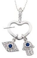 Silver Hamsa and Evil Eye Necklace