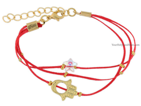 Red String Bracelet with Hamsa Hand