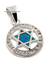 Silver & Opal Star of David Pendant