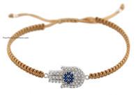 Macrame Bracelet with Silver Hamsa