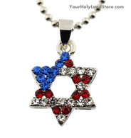 American Flag and Star of David Necklace