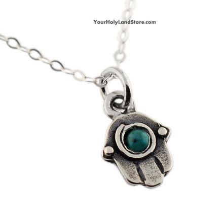 Hamsa Pendant with Turquoise Stone