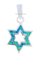 Silver & Blue Opal Star of David Pendant