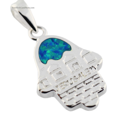 Silver & Opal Jerusalem Hamsa Pendant