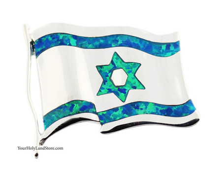 Silver & Opal Israeli Flag Pendant