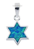 Silver & Opal Star of Magen David Pendant