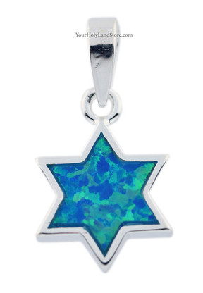 Silver & Opal Star of Magen David Pendant