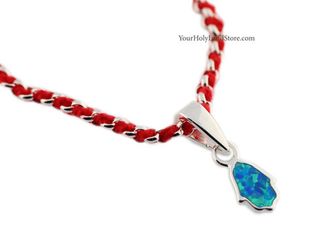 Kabbalah Red String Bracelet with Opal Hamsa