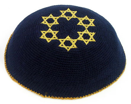 Knitted Kippah with Golden Stars of David