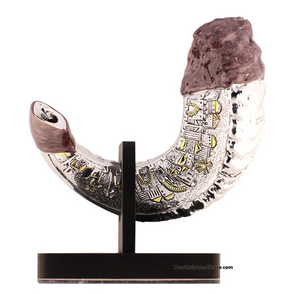 Rams Horn Shofar on Stand