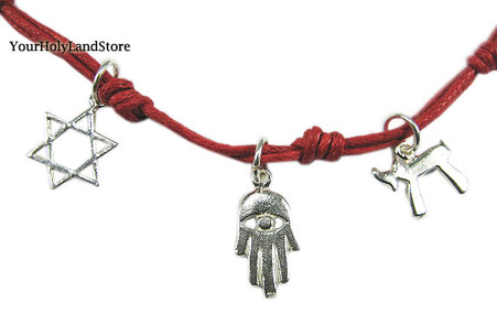 Kabbalah Red String with Chai, Hamsa and Star of David