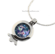 Sterling Silver Pomegranate Necklace with Ancient Roman Glass