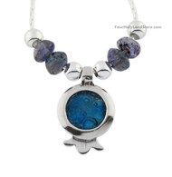 Roman Glass and Anyolite Pomegranate Necklace