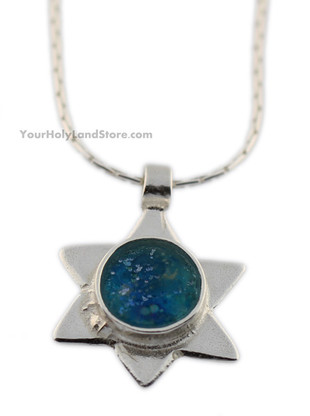 Roman Glass and Sterling Silver Star of David Necklace