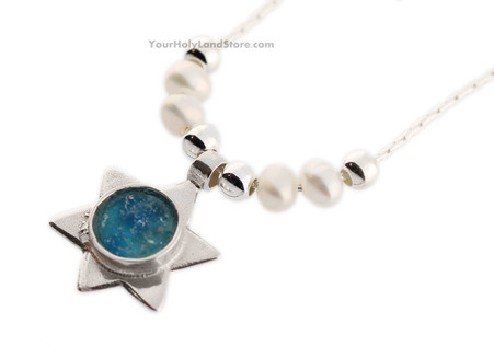 Roman Glass and Pearls Star of David Necklace