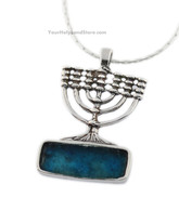 Roman Glass and Silver Menorah Necklace