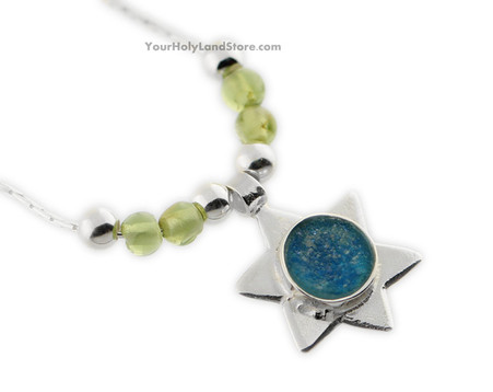 Roman Glass and Peridot Star of David Necklace