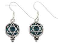 Roman Glass and Silver Star of David Earrings