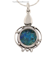 Roman Glass and Sterling Silver Pomegranate Necklace