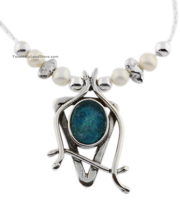 Roman Glass and Freshwater Pearls Star of David Necklace