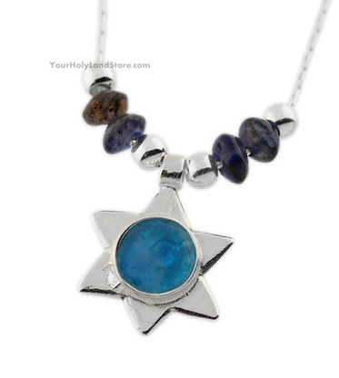 Roman Glass and Anyolite Star of David Necklace