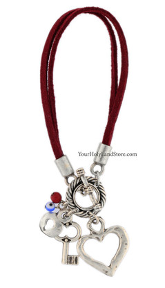 Protection Kabbalah Bracelet with Heart and Key