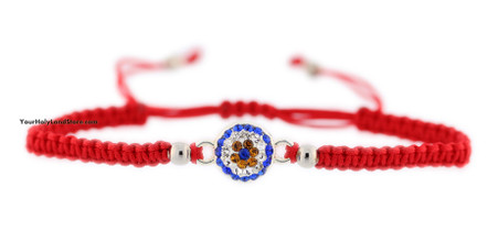 Kabbalah Red String Macrame Bracelet with Evil Eye