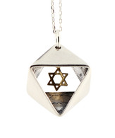 Silver and Gold Star of David Necklace