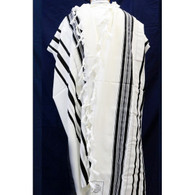 Wool Tallit with Black and Silver Stripes
