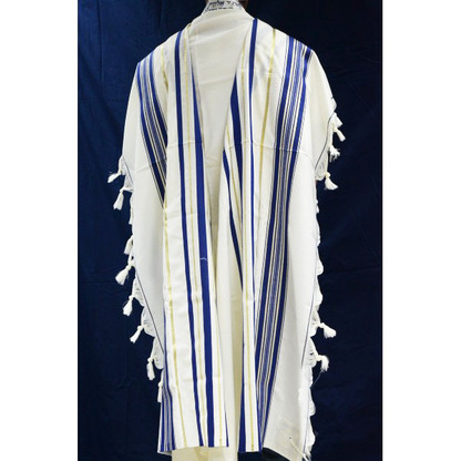 Traditional Pure Wool Tallit - Blue and Gold