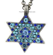 Star of David Necklace with Blue Crystals