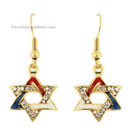 Gold Plated Star of David Earrings